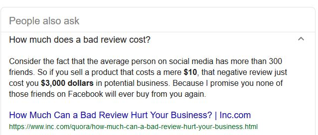 how much does a bad review